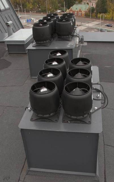 Вентиляторы соединяются с вентиляционным каналом диаметром 125, 160 и 200 мм. Отверстие шахты должно быть не меньше основания вентилятора.При установке вентилятора на ровную поверхность герметичность достигается с помощью уплотнителя.