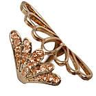 Кольцо Женское Веер с Покрытие Золотом 14К с Золотистыми Фианитами Размеры 16, 17, 18, 19, фото 2