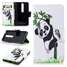 Чехол книжка с рисунком Printing для Nokia 6 2018 Lovely Panda on Bamboo