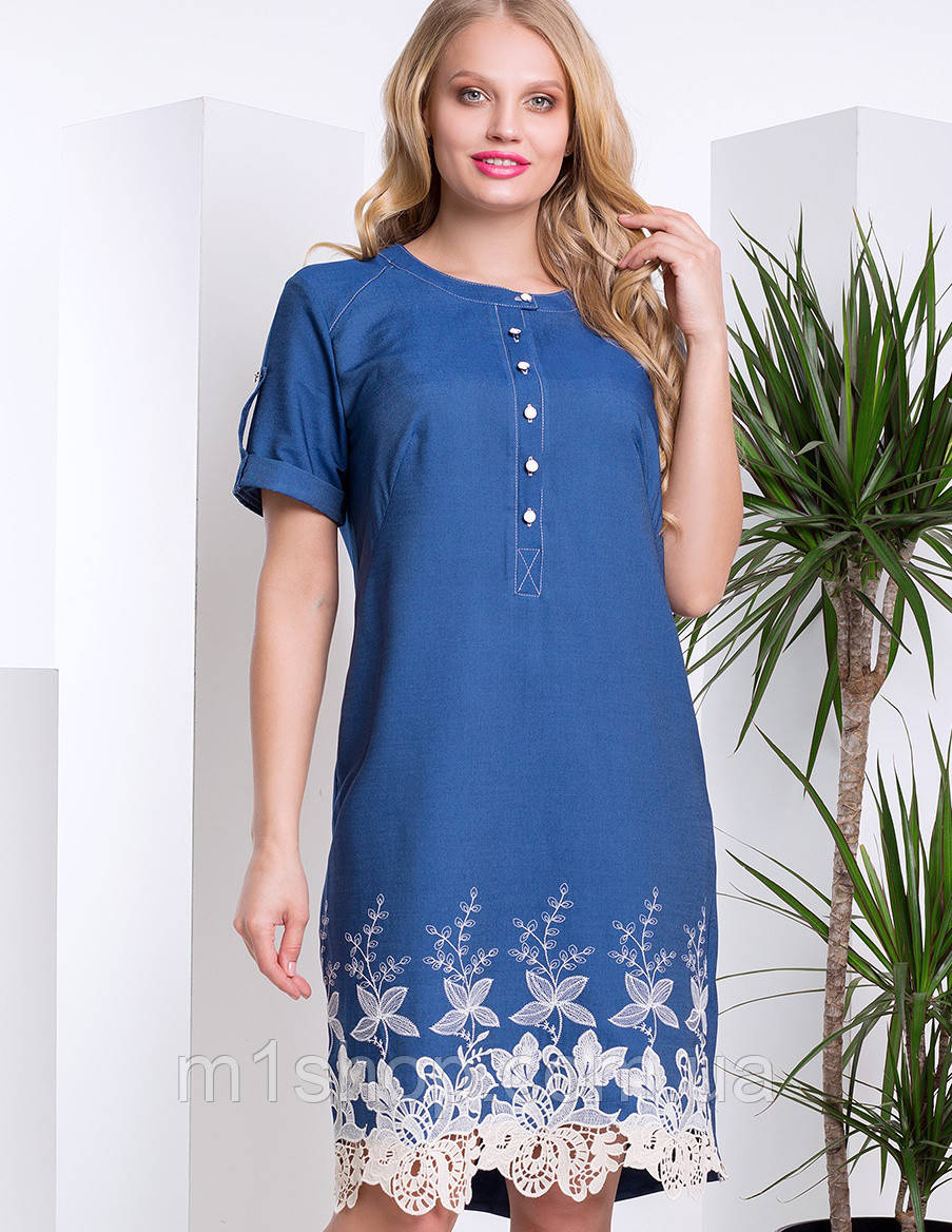 41dd47e3172 Женское джинсовое платье больших размеров с кружевом (Арабелла lzn ) - «  m1shop
