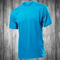 Футболка мужская голубая с круглым вырезом