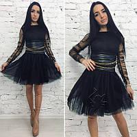 Платье из сетки и фатина с подкладкой №121 Размер:L - (46); Цвет:Черный