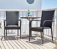 Комплект садовой мебели черной (2 кресла + столик)