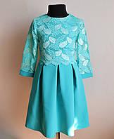Детское нарядное платье для девочек бирюзового цвета