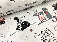 """Польская хлопковая ткань """"кошки черно-белые с красным на белом"""""""
