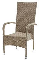 Садовое кресло плетеное с высокой спинкой из искусственного ротанга