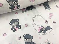 """Польская хлопковая ткань """"мишки с розовыми колпаками на белом"""""""