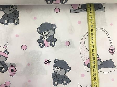 """Польская хлопковая ткань """"мишки с розовыми колпаками на белом"""", фото 2"""