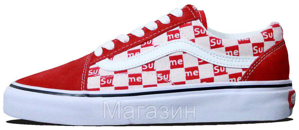 Женские кеды Supreme x Vans Old Skool Red/White (Ванс Олд Скул Суприм) в стиле черные