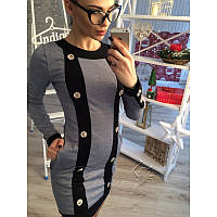 Платье из трикотажа с пуговицами №127 Размер:S - (42);Цвет:Серый, фото 1