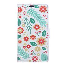 Чехол книжка с рисунком Printing для Huawei Y9 2018 Flowers and Leaves