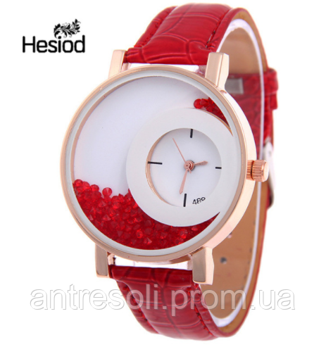 Часы наручные женские с красным ремешком код 160