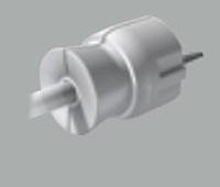 Вилка 2к+з 16А с прямым выводом кабеля белая