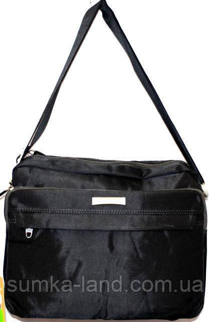 Мужская черная текстильная барсетка 33*25 см