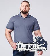 Тенниска поло мужская хлопок большого размера Braggart - 6637-1А серо-синий, фото 1