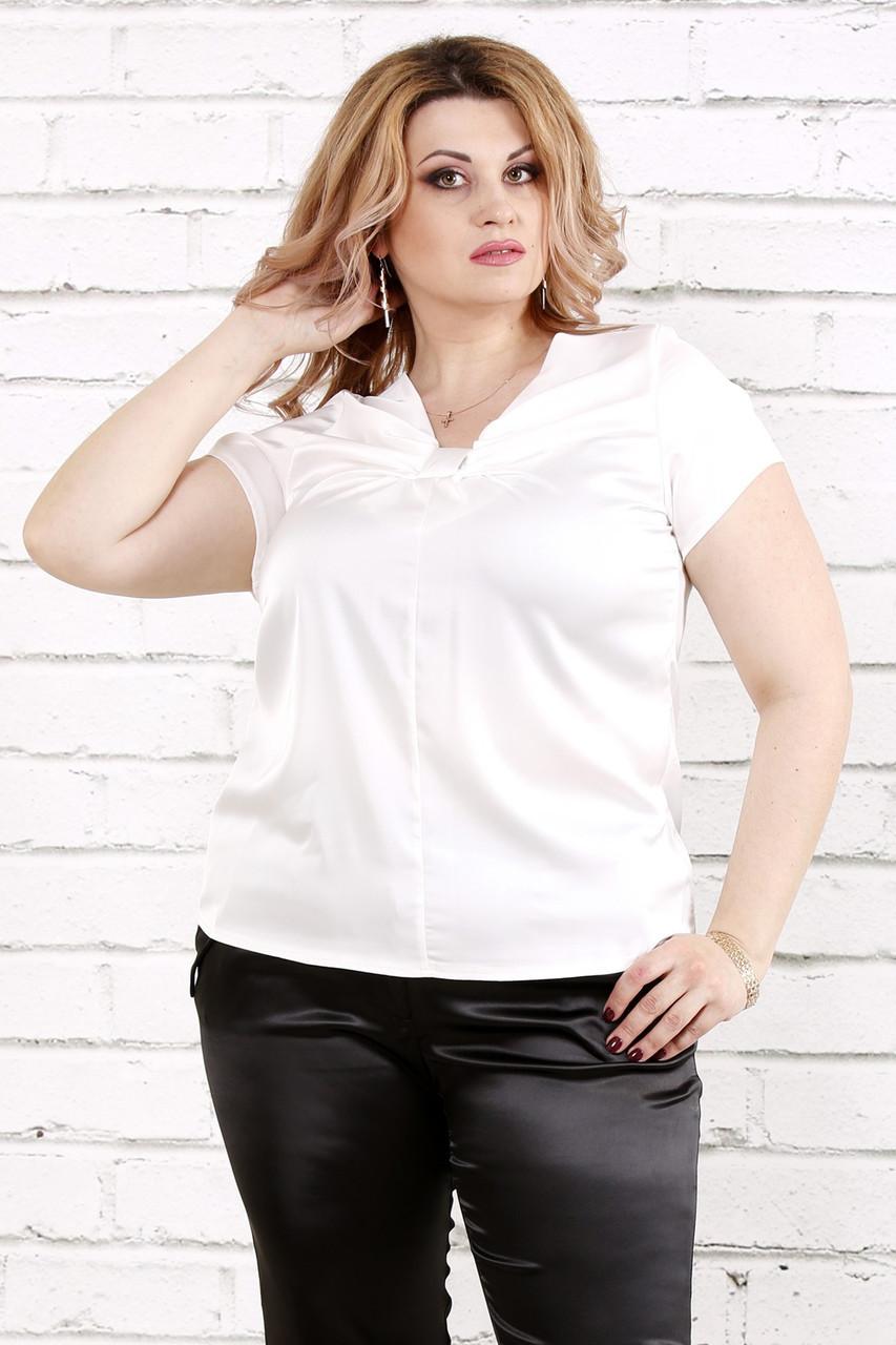 c1f31384f484 Блузка из шелка для полных женщин 0789 белая (48-74)