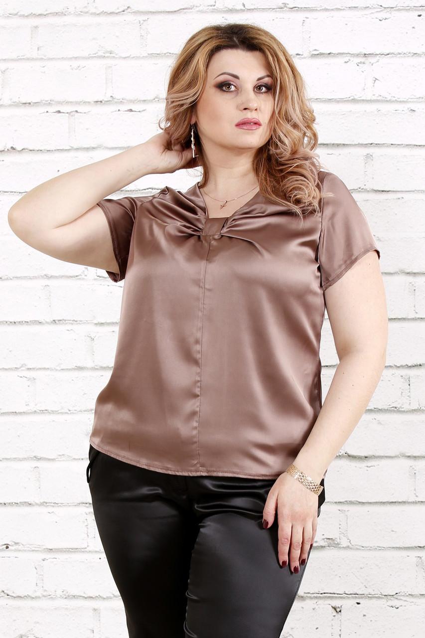 436a011be33e Блузка из шелка для полных женщин 0789 кофе (48-74)