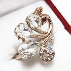 Кольцо Жар Птица, под Золото 14К с Белыми Стразами, Размеры 17, 18, фото 2