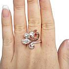 Кольцо Жар Птица, под Золото 14К с Белыми Стразами, Размеры 17, 18, фото 4