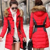 Зимний пуховик с контрастными вставками, женская куртка зима, жіноча куртка