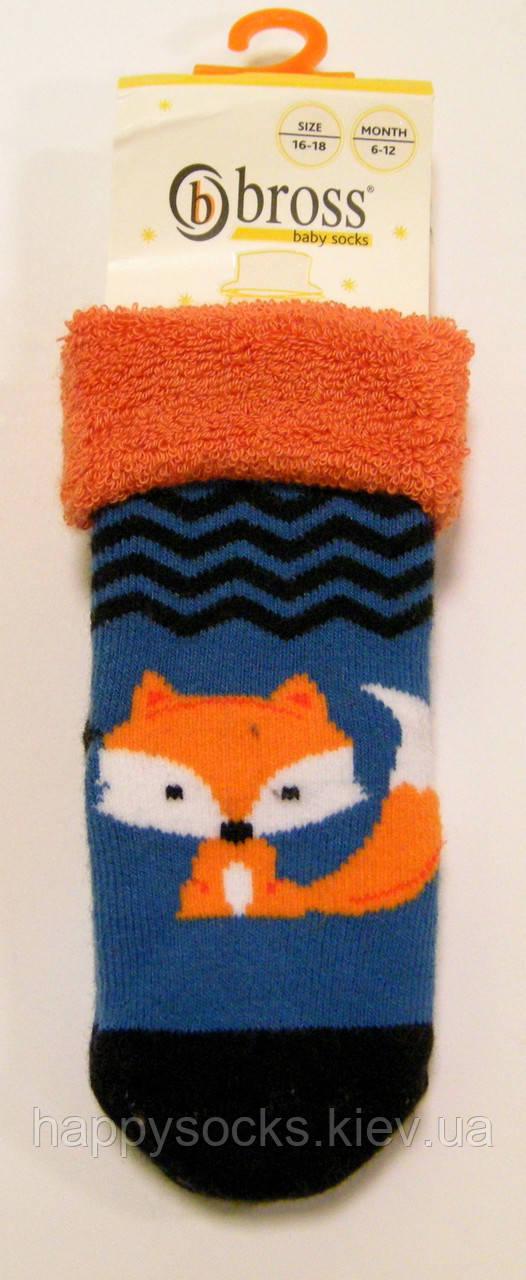 Махровые носки для маленьких с силиконовыми тормозами детские лиса