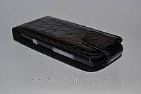 Чехол-книжка для телефона Nokia C2-05 черная рептилия с пластиковым креплением.