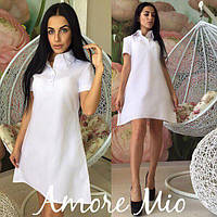 Белое легкое летнее платье ( лен )