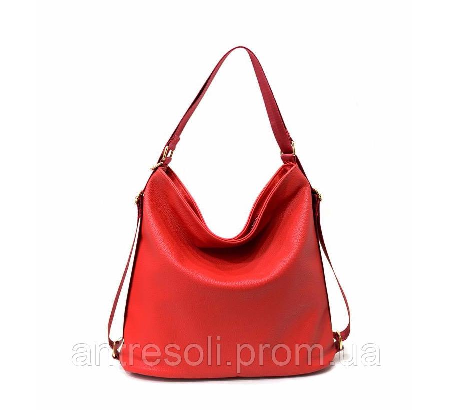 Сумка рюкзак трансформер женская красная код 3-299