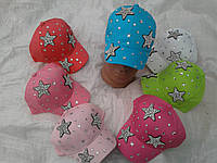 Кепка для дівчинки 52р рожевого,білого,персик,блакитного кольору камінці зірки оптом
