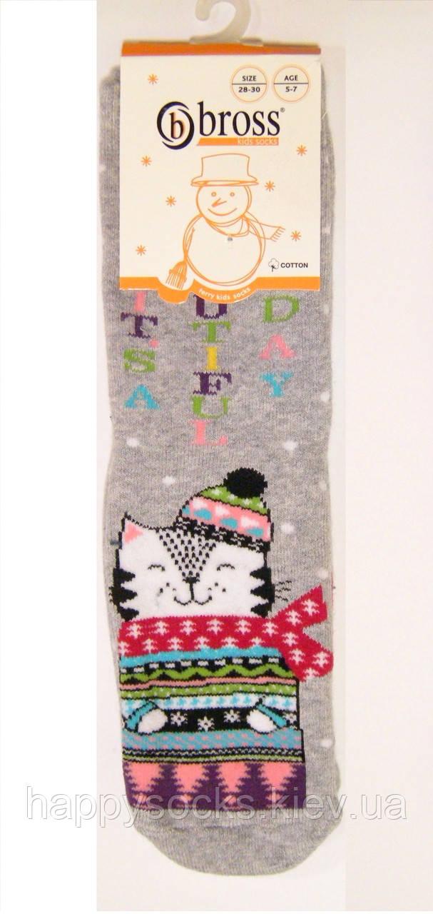 Носки детские с котом махровые с силиконовым покрытием на стопе