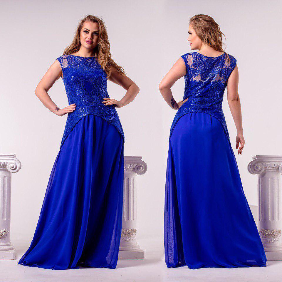 2503e6e8f38 Вечернее платье с шифоновой юбкой и оригинальным гипюровым декором батал