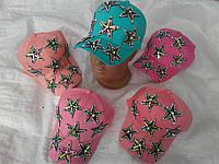 Кепка для девочки 55р розового,белого,персик,голубого цвета камешки звезды оптом