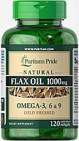 Масло льняное натуральное, Natural Flax Oil 1000 mg, Puritan's Pride, 120 капсул