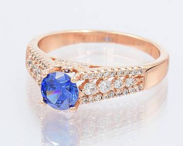 XUPING Кольцо Позолота РО синий циркон в интересной оправе Размер 17,18