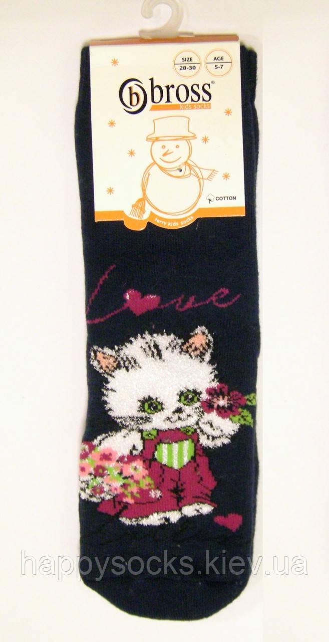Детские носки с кошечкой теплые с силиконовым анти-скольжением