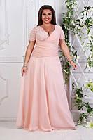 Шикарное вечернее платье из шифона гипюра и атласа батал