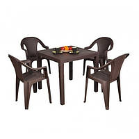 Комплект пластиковой мебели King Ischia 4 коричневый
