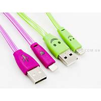 LED-кабель Smile USB 2.0, lightning (плоский, зеленый, 20 см), фото 1
