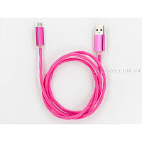 LED-кабель заряда и синхронизации USB 2.0, micro-USB (круглый, розовый), фото 1