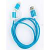Кабель заряда и синхронизации (2в1) Micro USB/Lightning (голубой. 1м)
