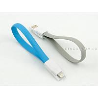 Кабель заряда и синхронизации USB 2.0, lightning (плоский, голубой, 22 см)