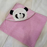 Полотенце розовое детское с уголком с пандой