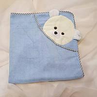 Полотенце синее детское с уголком с собачкой