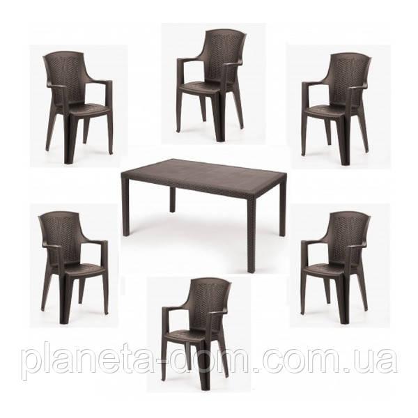 Комплект пластиковой мебели Prince Eden 6 коричневый