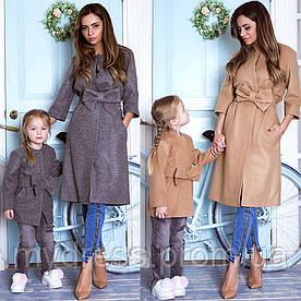 Family look пальто с бантом мама дочка