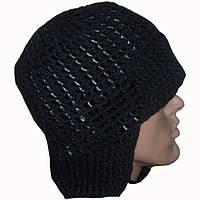 Мужская вязаная зимняя шапка - ушанка на подкладке с кожаными вставками
