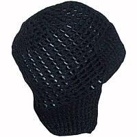 Мужская вязаная зимняя шапка-ушанка на подкладке с кожаными вставками
