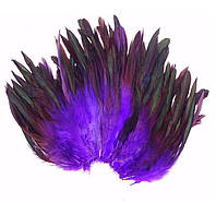 Перья петуха декоративные (Перо) Фиолетовые 10-20 см 20 шт/уп