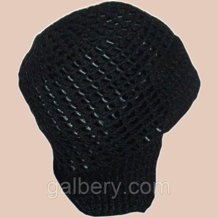 Мужская вязаная шапка - ушанка с кожаными вставками