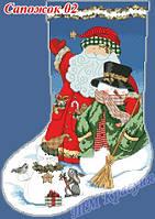Заготовка на вышивку новогоднего сапожка №2